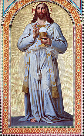 Free Vienna -  Fresco Of  Jesus Christ As The Priest By Karl Von Blaas From 19. Cent. In Nave Of Altlerchenfelder Church Royalty Free Stock Images - 32627649