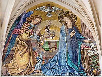 Vienna - Mosaic of Annunciation from main portal of gothic church Maria am Gestade