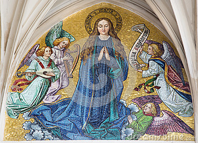 Vienna - Mosaic of Virgin Mary from main portal of gothic church Maria am Gestade
