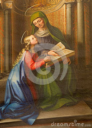 Free Vienna - Paint Of Holy Ann And Little Virgin Mary From 19. Cent. In Gothic Church Maria Am Gestade Royalty Free Stock Photo - 32312955