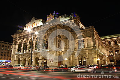 Vienna State Opera at night Editorial Image