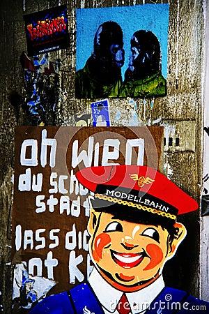 Vienna street art - psychedelic grunge Editorial Photo