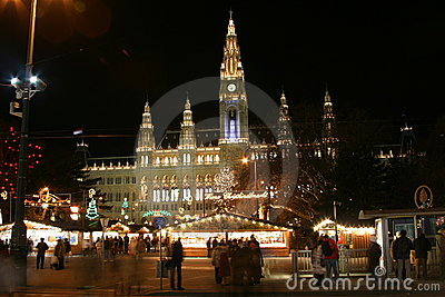 Vienna town hall in the night, Christmas time