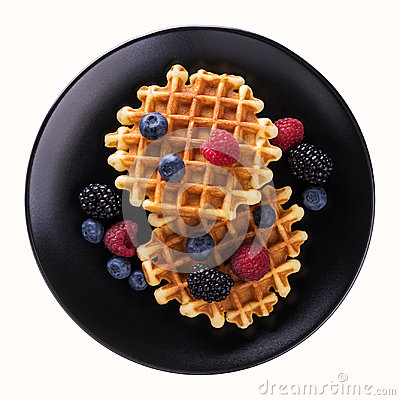 Free Viennese Waffles With Fresh Blueberries Stock Photography - 97057922