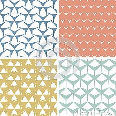 Vier abstracte gespannen geometrische roze naadloos