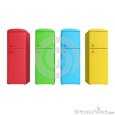 vier farbiger k hlschrank stock abbildung bild 46048123. Black Bedroom Furniture Sets. Home Design Ideas