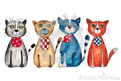 Vier katten