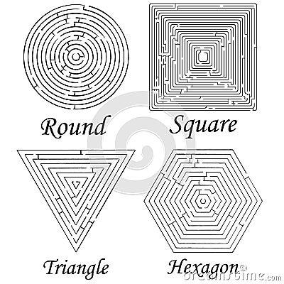 Vier labyrintenvormen tegen wit
