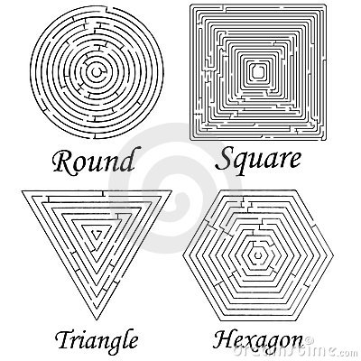 Vier Labyrinthformen gegen Weiß