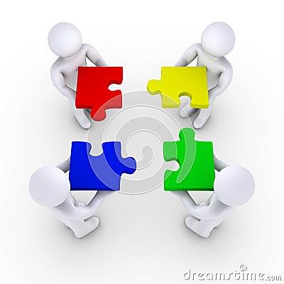 Vier Leuteholding-Puzzlespielstücke