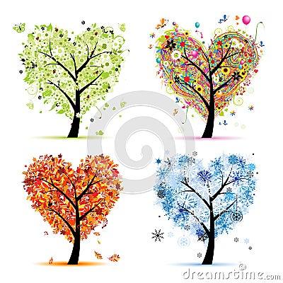 Vier seizoenen. De vorm van het de boomhart van de kunst