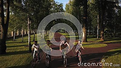 Vier sportliche Freunde, die in Park radfahren stock video
