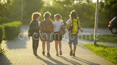 Vier Vrienden gaan naar School Zij hebben Heel wat Pret omdat Vandaag Hun Eerste Dag op School is stock footage