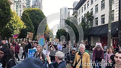 Viernes por el futuro Vancouver protestando contra el calentamiento global almacen de video