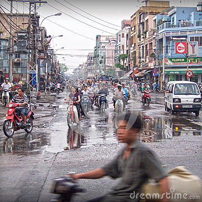 Vietnam busy street traffic Editorial Image