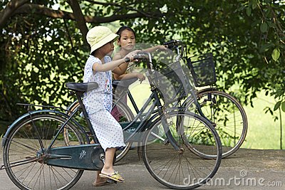 Vietnam Children on Bicycles Editorial Image