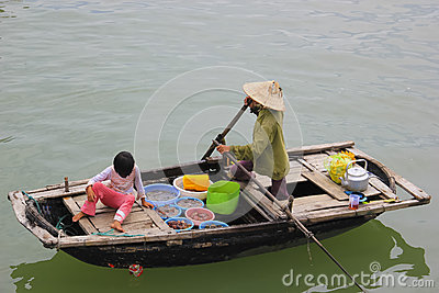 Vietnam, Ha Long Bay Floating Market Editorial Photo
