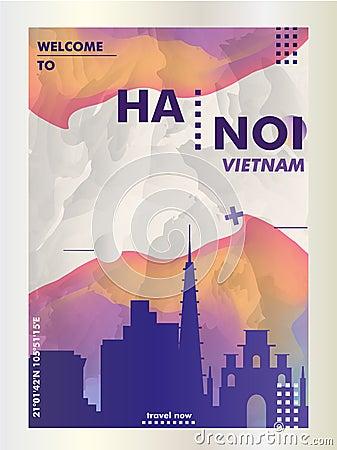 Free Vietnam Hanoi Skyline City Gradient Vector Poster Royalty Free Stock Image - 121766686
