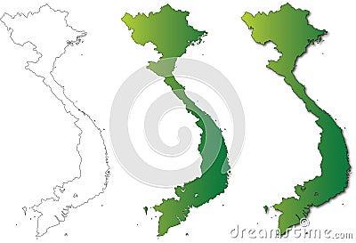 Vietnam Map Set Illustration on White Background