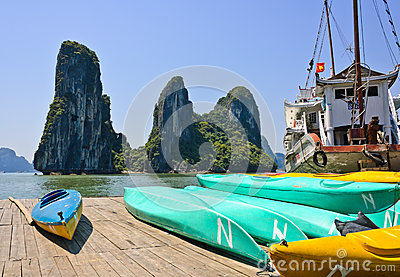 Vietnamese boat in Halong bay Editorial Image