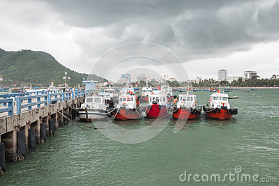 Vietnamese Boats at the Jetty Editorial Image