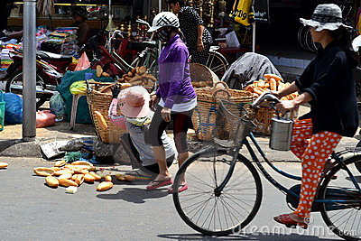 Vietnamese bread saleswoman Editorial Photo
