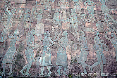 Vietnamese culture on bronze panel