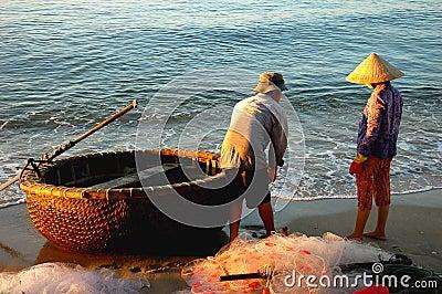 Vietnamese fishermen Editorial Photo