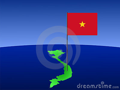 Vietnamese flag on map