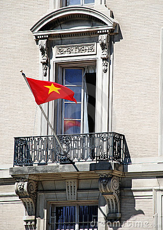 Vietnamese Flag Ornate Window