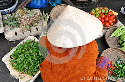 Vietnamese Market Woman Editorial Photography