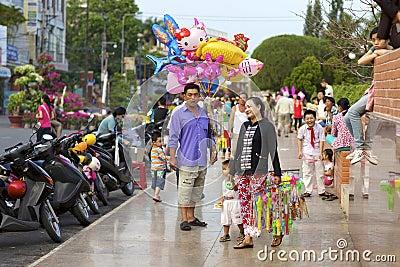 Vietnamese Street Balloon Vendor Editorial Photography