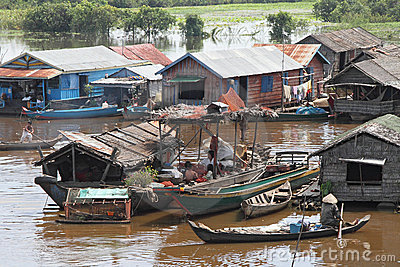 Vietnamese Village in Tonle Sap Editorial Image