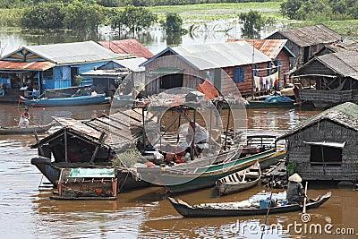 Vietnamese Village in Tonle Sap Editorial Image