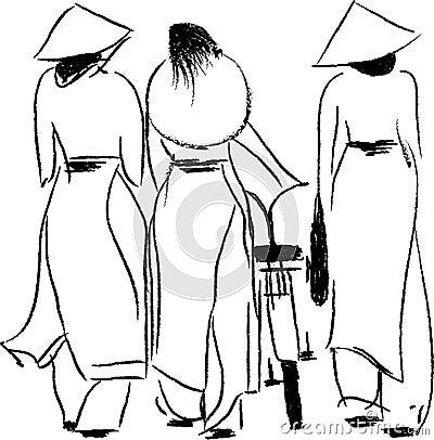 Vietnamese Women in Ao Dai Vector Illustration