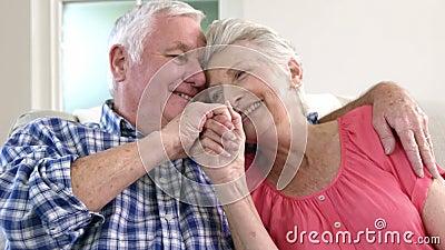 Vieux couples affectueux sur le divan banque de vidéos