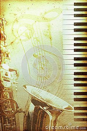Vieux papier de jazz avec le clef