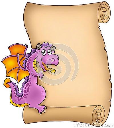 Vieux parchemin avec le dragon de cachette