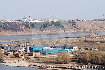 View at Abalak Znamensky monastery and fish plant