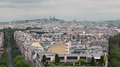 View From Above On The Roofs Of The Bohemian District Of Montmartre Paris France Slow Motion Cityscape Cars On The
