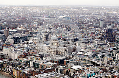 View from above of St Paul s Cathedral, London