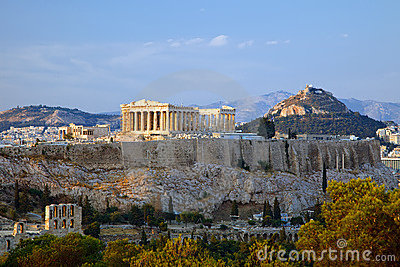 View on Acropolis at sunset, Athens