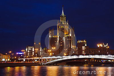 View across Moscow river in twilight