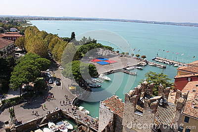 View across Sirmione peninsula, Lake Garda, Italy Editorial Photography