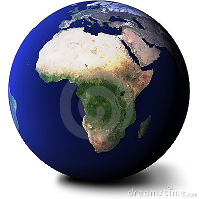 View of Africa on Globe
