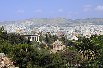 View of Agora in Athens in Greece
