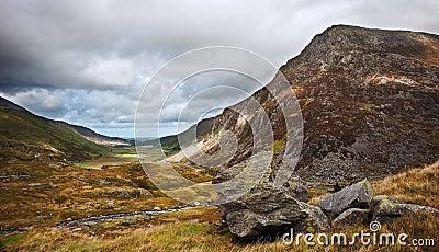 View along Nant Francon valley Snowdonia landscape