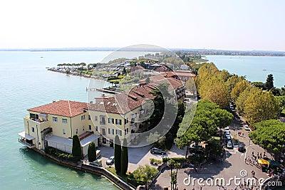 View along Sirmione peninsula, Lake Garda, Italy Editorial Photography