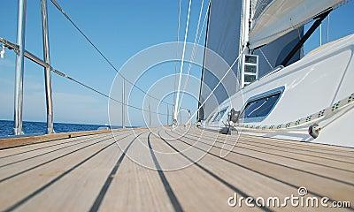 View along teak deck