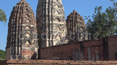 View of the ancient Buddhist temple Wat Si Sawai. Sukhothai. View of the ancient Buddhist temple Wat Si Sawai. The historical Park of Sukhothai stock footage